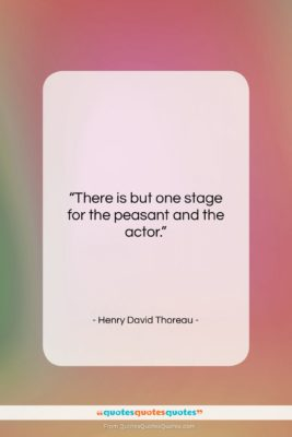 "Henry David Thoreau quote: ""There is but one stage for the…""- at QuotesQuotesQuotes.com"