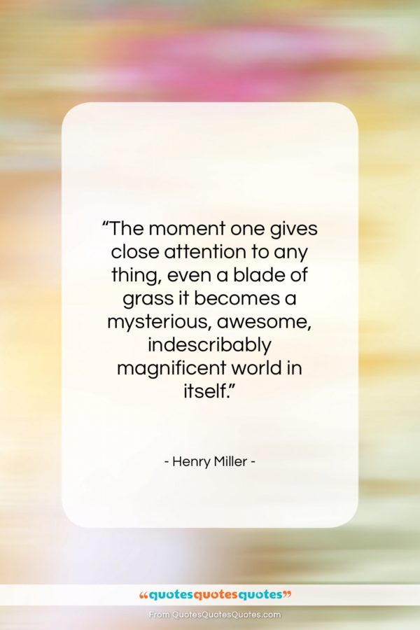 """Henry Miller quote: """"The moment one gives close attention to…""""- at QuotesQuotesQuotes.com"""