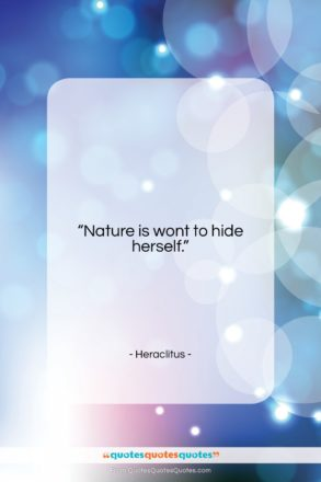 """Heraclitus quote: """"Nature is wont to hide herself….""""- at QuotesQuotesQuotes.com"""