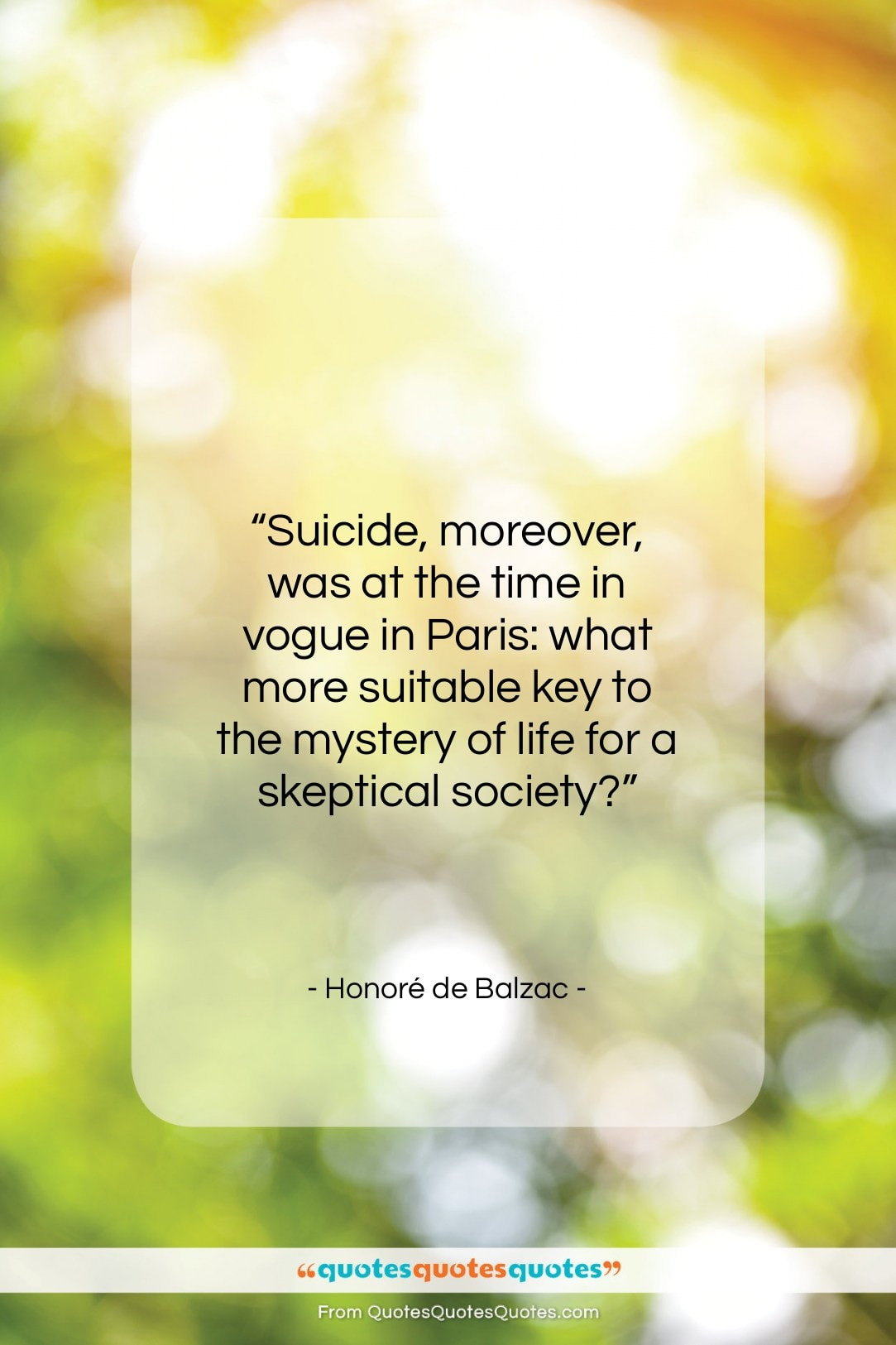 """Honoré de Balzac quote: """"Suicide, moreover, was at the time in…""""- at QuotesQuotesQuotes.com"""