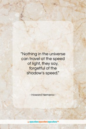 """Howard Nemerov quote: """"Nothing in the universe can travel at…""""- at QuotesQuotesQuotes.com"""