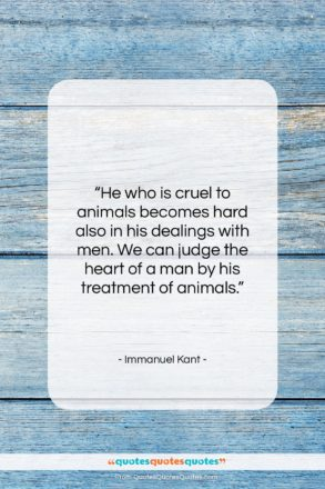 """Immanuel Kant quote: """"He who is cruel to animals becomes…""""- at QuotesQuotesQuotes.com"""