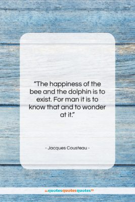 """Jacques Cousteau quote: """"The happiness of the bee and the…""""- at QuotesQuotesQuotes.com"""