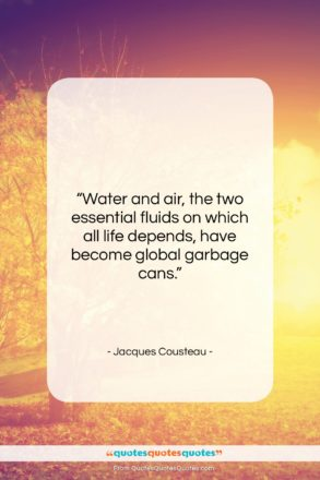 """Jacques Cousteau quote: """"Water and air, the two essential fluids…""""- at QuotesQuotesQuotes.com"""