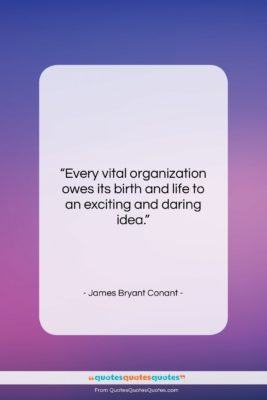 """James Bryant Conant quote: """"Every vital organization owes its birth and…""""- at QuotesQuotesQuotes.com"""