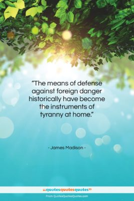 """James Madison quote: """"The means of defense against foreign danger…""""- at QuotesQuotesQuotes.com"""