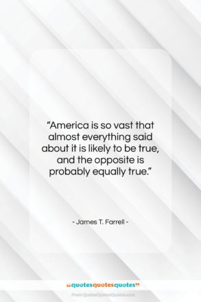 """James T. Farrell quote: """"America is so vast that almost everything…""""- at QuotesQuotesQuotes.com"""