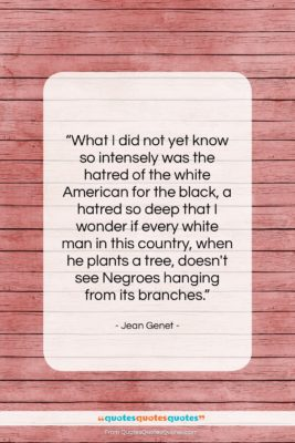"""Jean Genet quote: """"What I did not yet know so…""""- at QuotesQuotesQuotes.com"""