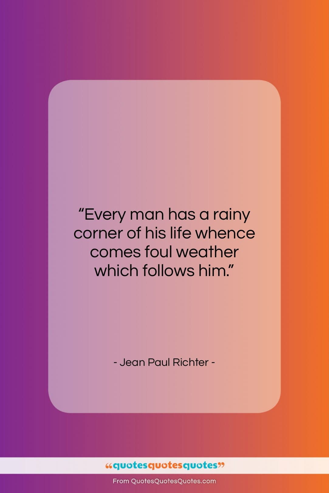 """Jean Paul Richter quote: """"Every man has a rainy corner of…""""- at QuotesQuotesQuotes.com"""