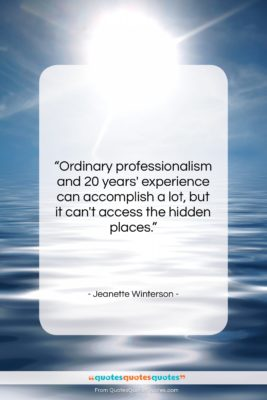 "Jeanette Winterson quote: ""Ordinary professionalism and 20 years' experience can…""- at QuotesQuotesQuotes.com"
