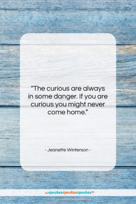 """Jeanette Winterson quote: """"The curious are always in some danger….""""- at QuotesQuotesQuotes.com"""