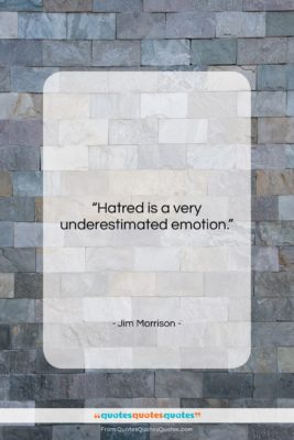 """Jim Morrison quote: """"Hatred is a very underestimated emotion….""""- at QuotesQuotesQuotes.com"""