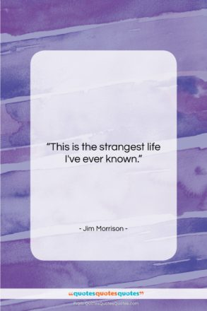 """Jim Morrison quote: """"This is the strangest life I've ever…""""- at QuotesQuotesQuotes.com"""