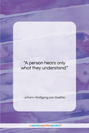 """Johann Wolfgang von Goethe quote: """"A person hears only what they understand….""""- at QuotesQuotesQuotes.com"""
