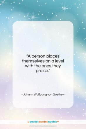 """Johann Wolfgang von Goethe quote: """"A person places themselves on a level…""""- at QuotesQuotesQuotes.com"""
