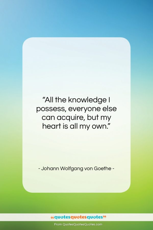 """Johann Wolfgang von Goethe quote: """"All the knowledge I possess, everyone else…""""- at QuotesQuotesQuotes.com"""
