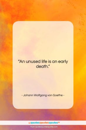 """Johann Wolfgang von Goethe quote: """"An unused life is an early death….""""- at QuotesQuotesQuotes.com"""