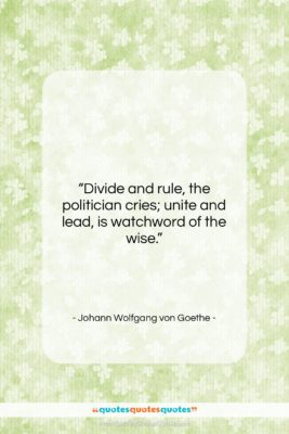 """Johann Wolfgang von Goethe quote: """"Divide and rule, the politician cries; unite…""""- at QuotesQuotesQuotes.com"""