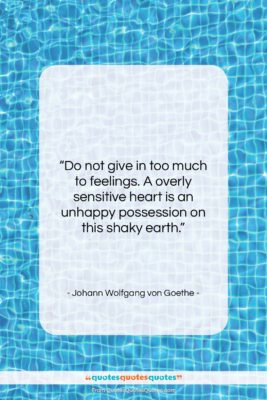 """Johann Wolfgang von Goethe quote: """"Do not give in too much to…""""- at QuotesQuotesQuotes.com"""