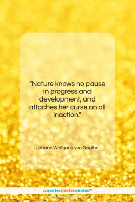 """Johann Wolfgang von Goethe quote: """"Nature knows no pause in progress and…""""- at QuotesQuotesQuotes.com"""