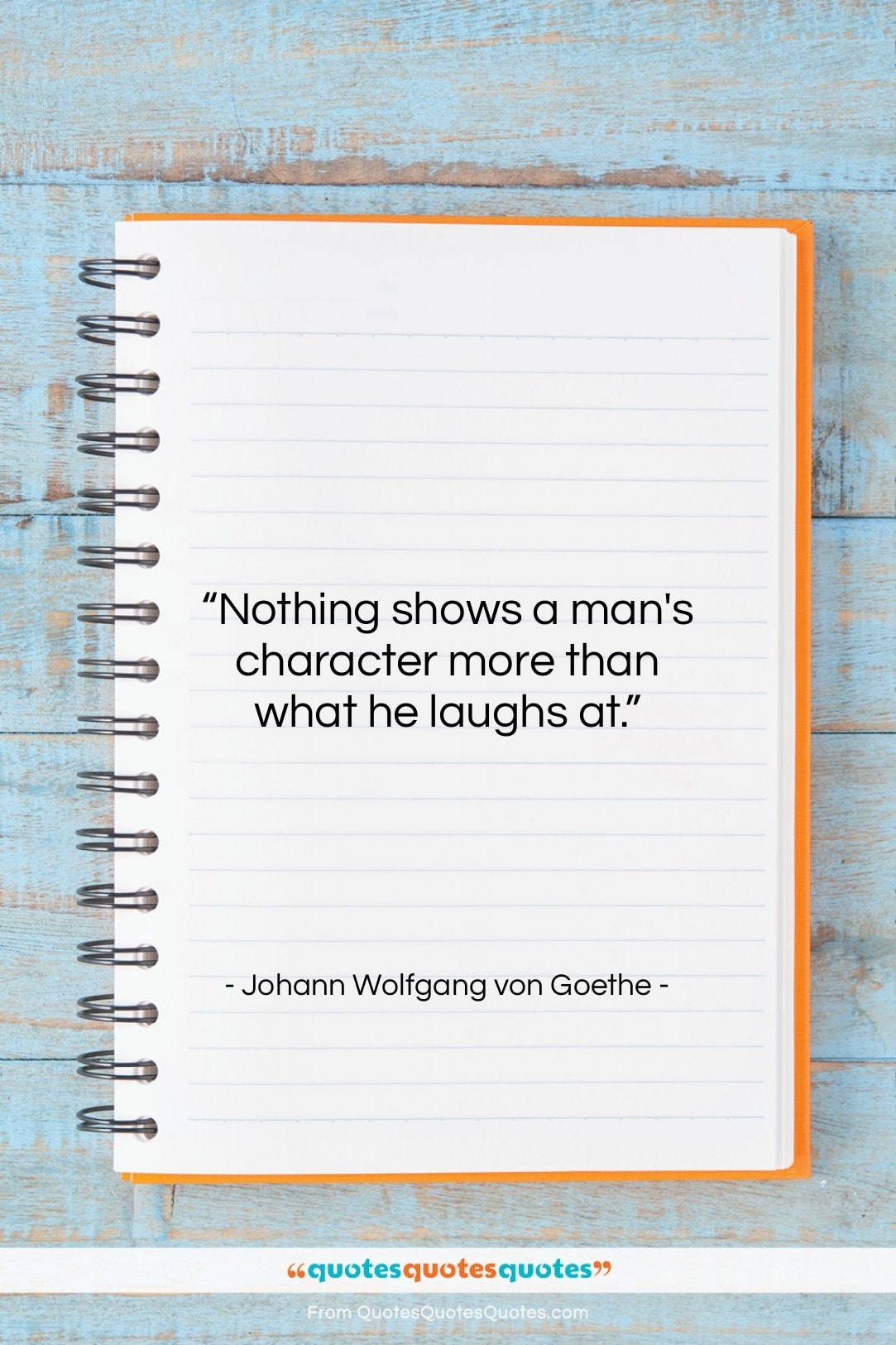 """Johann Wolfgang von Goethe quote: """"Nothing shows a man's character more than…""""- at QuotesQuotesQuotes.com"""