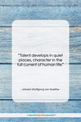 """Johann Wolfgang von Goethe quote: """"Talent develops in quiet places, character in…""""- at QuotesQuotesQuotes.com"""