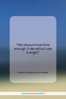 """Johann Wolfgang von Goethe quote: """"We always have time enough, if we…""""- at QuotesQuotesQuotes.com"""