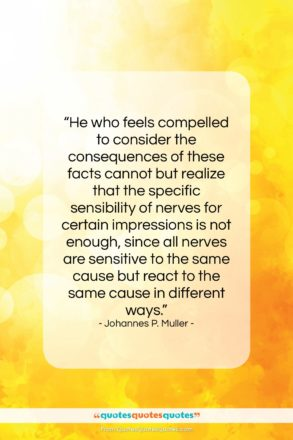 """Johannes P. Muller quote: """"He who feels compelled to consider the…""""- at QuotesQuotesQuotes.com"""