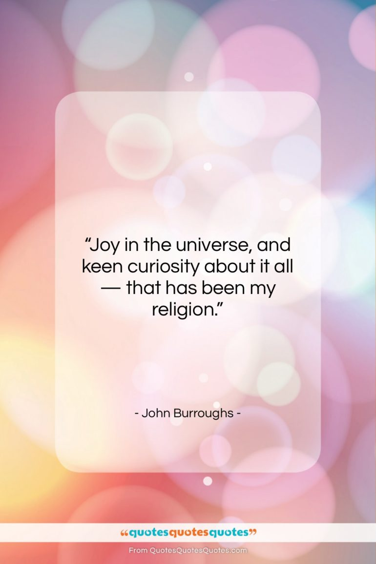 """John Burroughs quote: """"Joy in the universe, and keen curiosity…""""- at QuotesQuotesQuotes.com"""