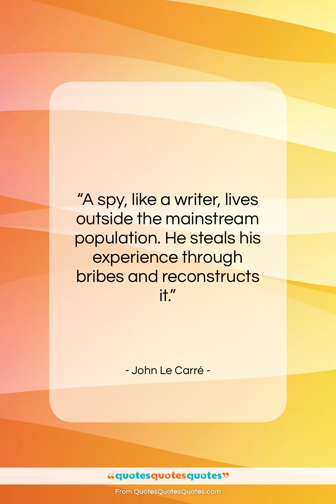 """John Le Carré quote: """"A spy, like a writer, lives outside…""""- at QuotesQuotesQuotes.com"""