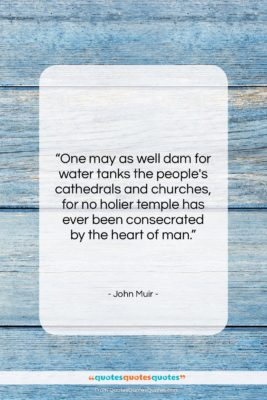 "John Muir quote: ""One may as well dam for water…""- at QuotesQuotesQuotes.com"