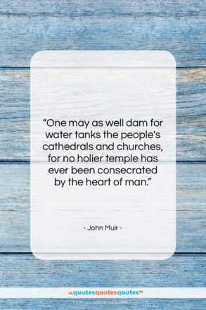 """John Muir quote: """"One may as well dam for water…""""- at QuotesQuotesQuotes.com"""