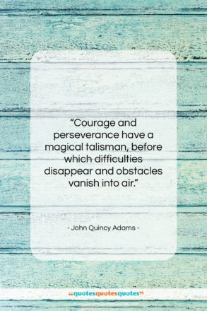 """John Quincy Adams quote: """"Courage and perseverance have a magical talisman,…""""- at QuotesQuotesQuotes.com"""