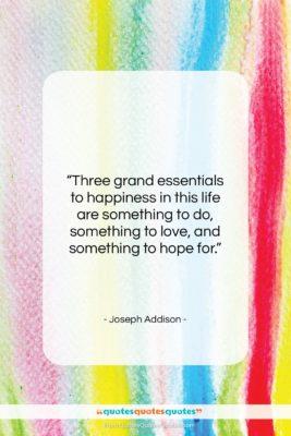 "Joseph Addison quote: ""Three grand essentials to happiness in this…""- at QuotesQuotesQuotes.com"