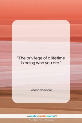 """Joseph Campbell quote: """"The privilege of a lifetime is being…""""- at QuotesQuotesQuotes.com"""