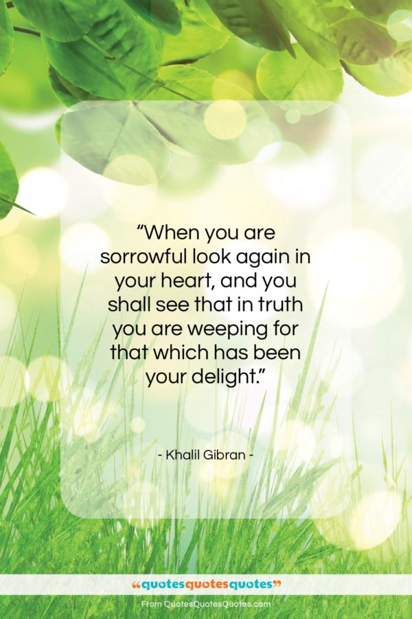 """Khalil Gibran quote: """"When you are sorrowful look again in…""""- at QuotesQuotesQuotes.com"""