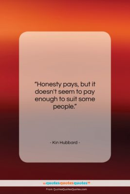 """Kin Hubbard quote: """"Honesty pays, but it doesn't seem to…""""- at QuotesQuotesQuotes.com"""