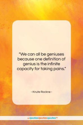 """Knute Rockne quote: """"We can all be geniuses because one…""""- at QuotesQuotesQuotes.com"""