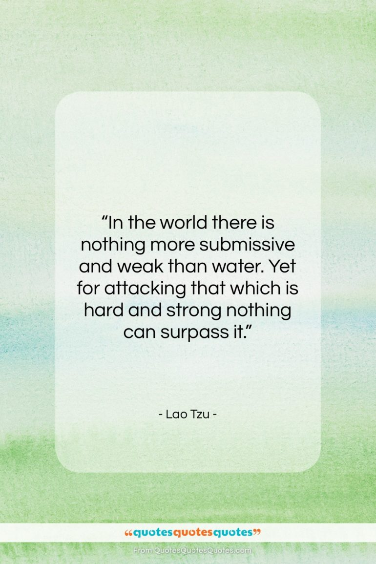 """Lao Tzu quote: """"In the world there is nothing more…""""- at QuotesQuotesQuotes.com"""
