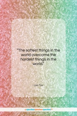 """Lao Tzu quote: """"The softest things in the world overcome…""""- at QuotesQuotesQuotes.com"""