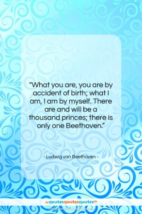 """Ludwig van Beethoven quote: """"What you are, you are by accident…""""- at QuotesQuotesQuotes.com"""