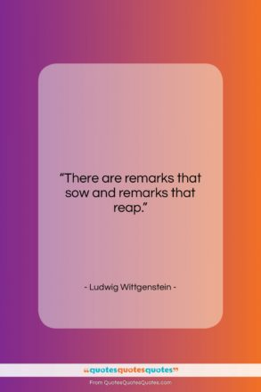 """Ludwig Wittgenstein quote: """"There are remarks that sow and remarks…""""- at QuotesQuotesQuotes.com"""