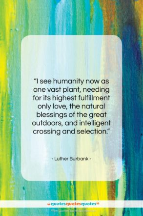 """Luther Burbank quote: """"I see humanity now as one vast…""""- at QuotesQuotesQuotes.com"""