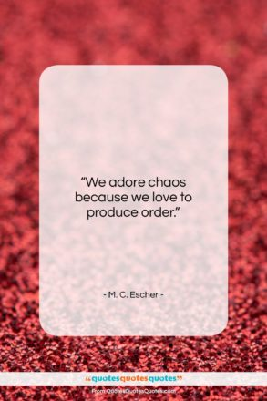"""M. C. Escher quote: """"We adore chaos because we love to…""""- at QuotesQuotesQuotes.com"""