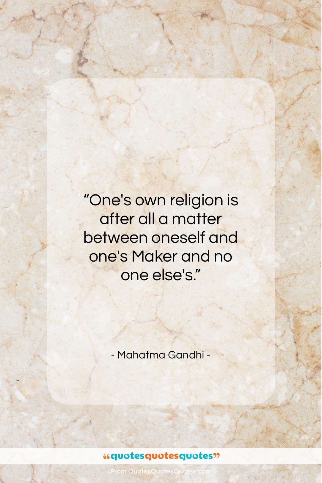 """Mahatma Gandhi quote: """"One's own religion is after all a…""""- at QuotesQuotesQuotes.com"""