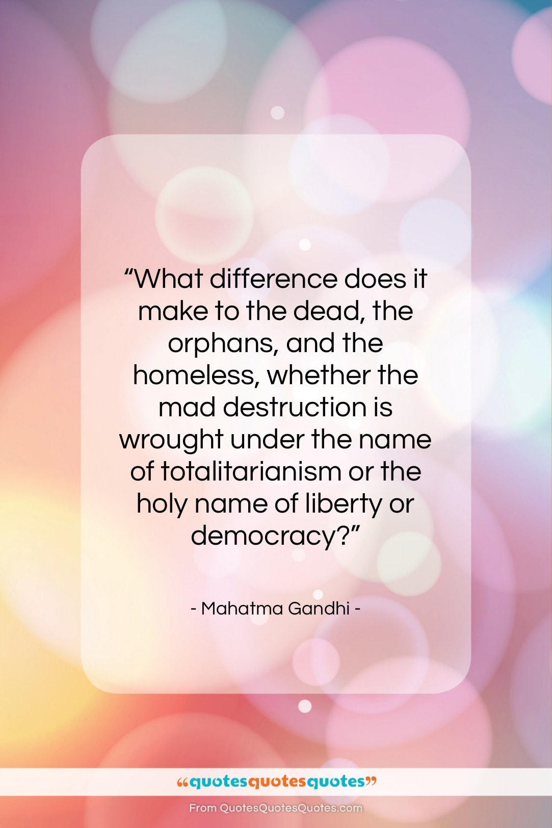 """Mahatma Gandhi quote: """"What difference does it make to the…""""- at QuotesQuotesQuotes.com"""