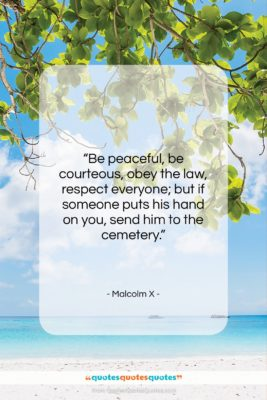 """Malcolm X quote: """"Be peaceful, be courteous, obey the law,…""""- at QuotesQuotesQuotes.com"""