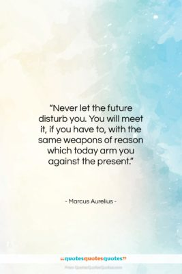 "Marcus Aurelius quote: ""Never let the future disturb you. You…""- at QuotesQuotesQuotes.com"
