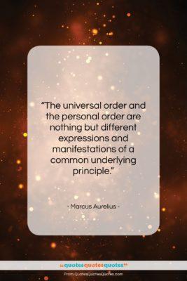 """Marcus Aurelius quote: """"The universal order and the personal order…""""- at QuotesQuotesQuotes.com"""