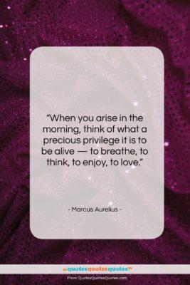 "Marcus Aurelius quote: ""When you arise in the morning, think…""- at QuotesQuotesQuotes.com"